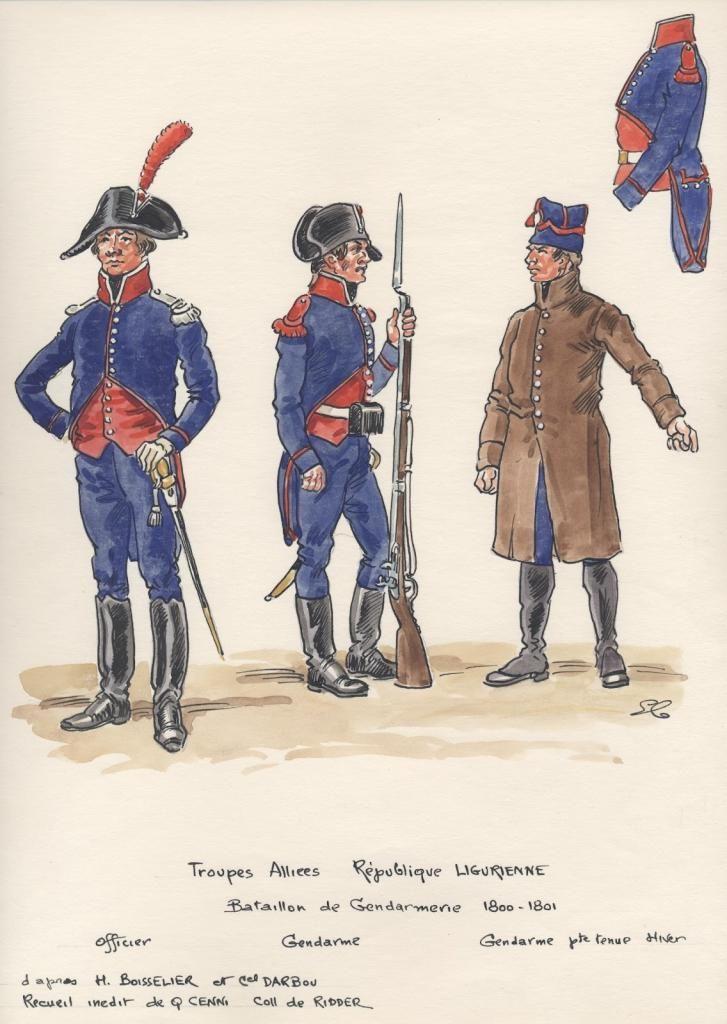 Ufficiale e gendarmi del battaglione della gendarmeria ligure