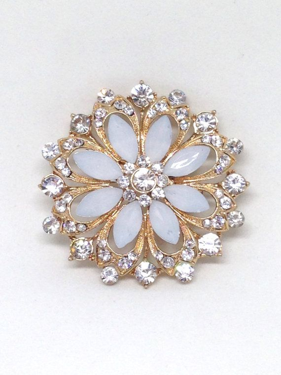 Classic Exquisite Clear Rhinestone Flower Gold Tone Estate