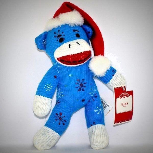 2f7c4fce7 Christmas Sock Monkey Plush Snowflakes Blue Red Santa Hat Dan Dee ...