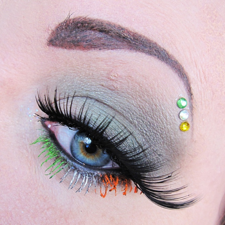 St. Patrick's Day inspired eye make-up with tricolor lashes and a trio of crystal accents by Anne-Mette Højbjerg.