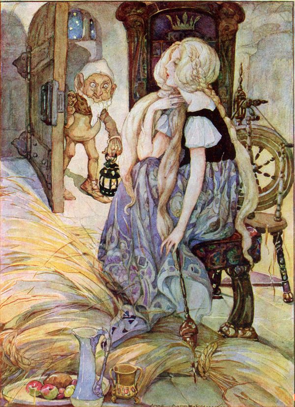 """Gold from Straw,"" illustration by Anne Anderson (1878-1930). Anderson was a prolific illustrator of children's books. She was influenced by her contemporaries, Jessie M. King and Charles Robinson. She was the primary breadwinner in her family and illustrated more than 100 books, some with her husband, Alan Wright, whose style is somewhat similar."