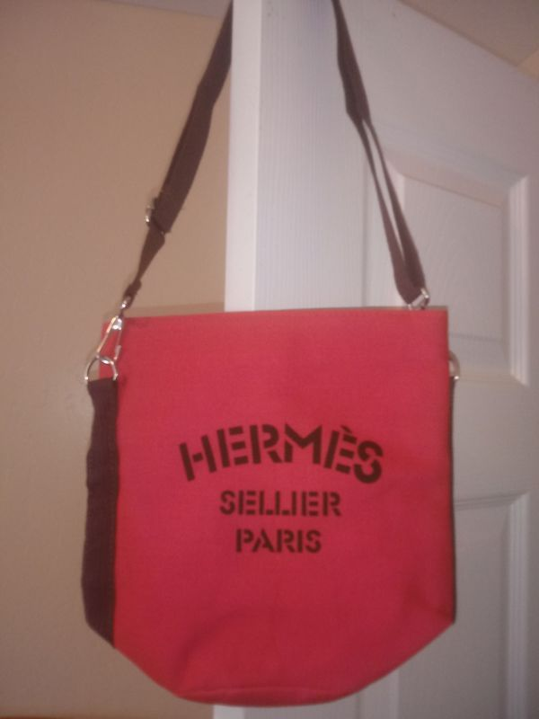 Brand New Hermes Sellier Paris Canvas Bag Sz Small Pink 35 For