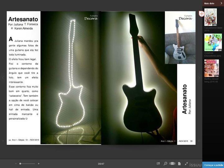 Guitarra restaurada e transformada em luminaria  inspirada em um violão da cantora Taylor Swift