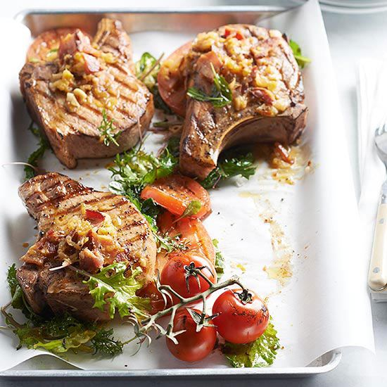 Grilled Pork Chops With Bacon And Tomato Recipe