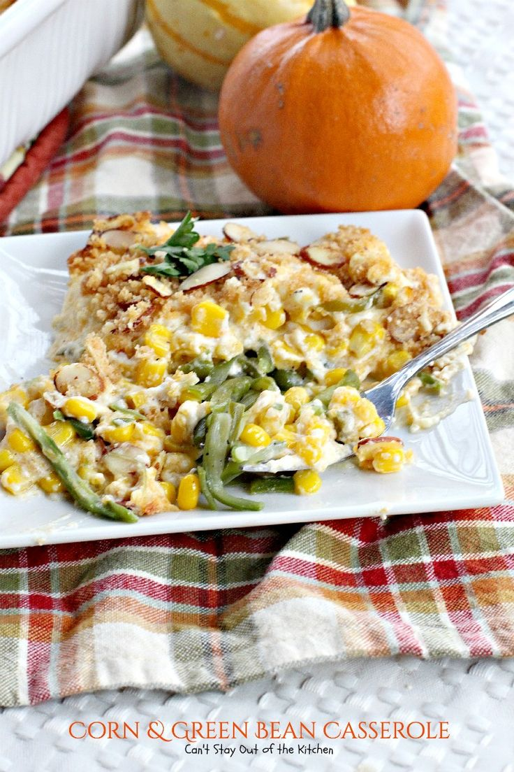 Something different green bean casserole |  Omit the celery and almonds, substitute pepper jack for cheddar and Mexi-corn and white shoepeg corn for corn. Double the recipe for big events.