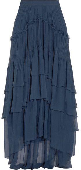 Chloé - Ruffled Tiered Silk-mousseline Maxi Skirt - Navy