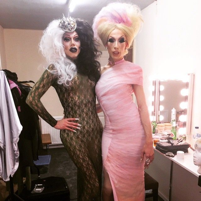 In honor of the upcoming crowning.. @theonlyalaska5000 and I busted out our crowning gowns of seasons past .. Sorry about the lighting ..