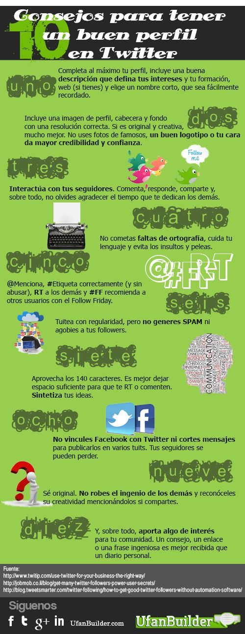 10 consejos para un buen perfil en Twitter #infografia