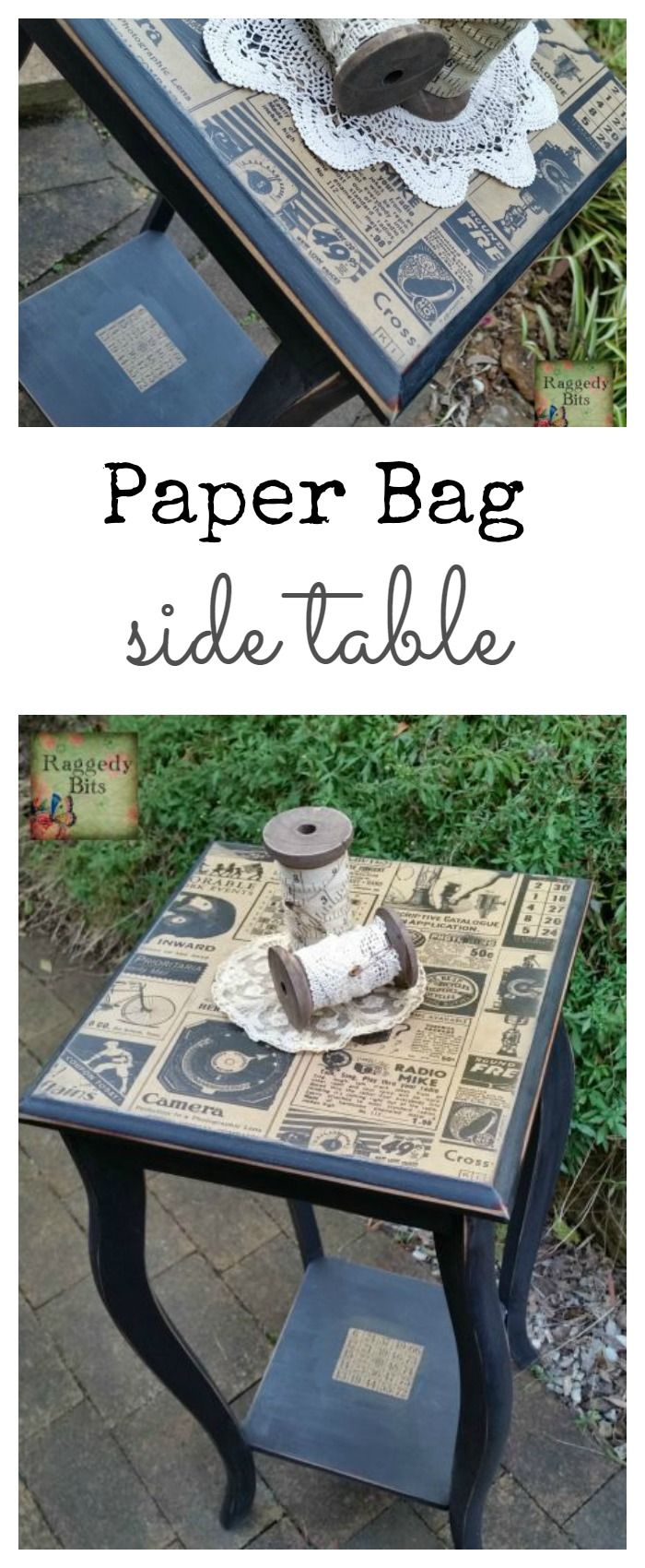 Repurposing an old paper bag from Typo see how I gave a side table a new Vintage Farmhouse Paper Bag Side Table look | www.raggedy-bits.com