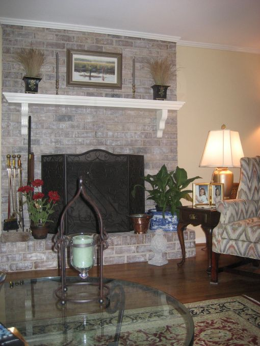 Painted brick fireplace ideas gray white washed for Fireplace paint color ideas