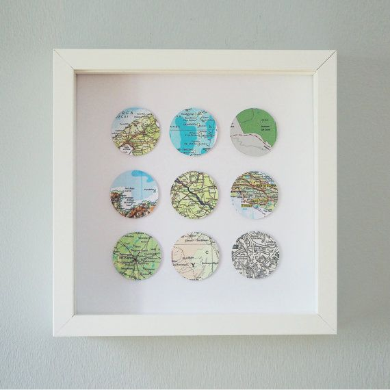 A perfect anniversary, new home, or wedding gift. Just tell us the nine locations you want on your circles and wherever they are in the world we will find the maps and create the artwork especially for you. The map pieces are all of varying colours and scales. This piece will come to you in a wooden box frame measuring 25x25cm with a depth of 4.5cm. Each individual circle measures approximately 4 x 4cm. You can choose a black or white frame, or you can let us choose the best suited frame to…