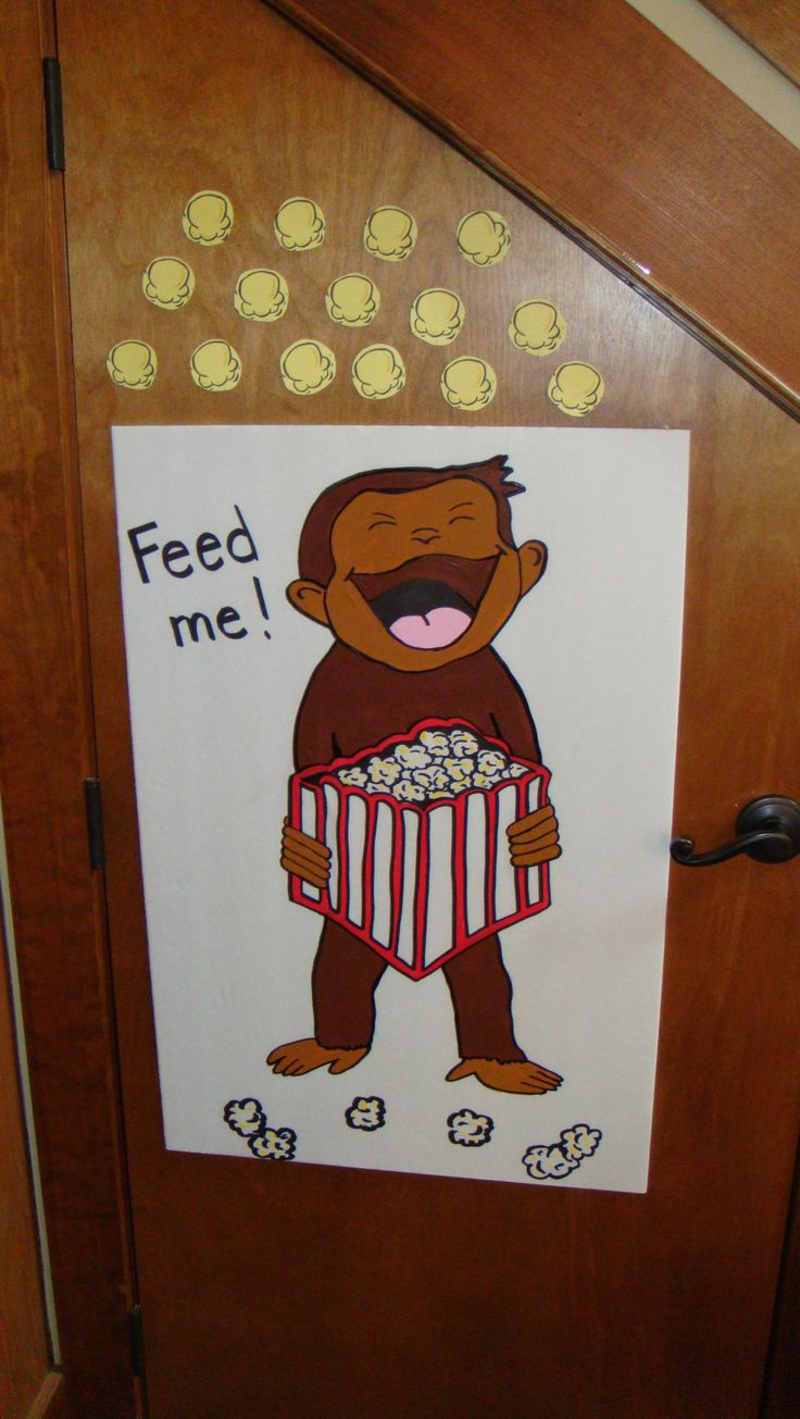 Krafty kidz center curious george coloring pages - Curious George Games_blind Folded Put The Popcorn In George S Mouth