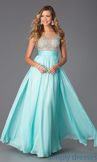 Floor Length Embellished Chiffon Prom Dress at SimplyDresses.com