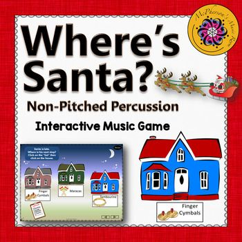 Looking for an interactive music game to reinforce aurally identifying the timbre of non-pitched classroom percussion instruments with your younger elementary music students?  They will love watching the Santa fly through the sky! Engaging lesson to use anytime but especially in December around the holidays!