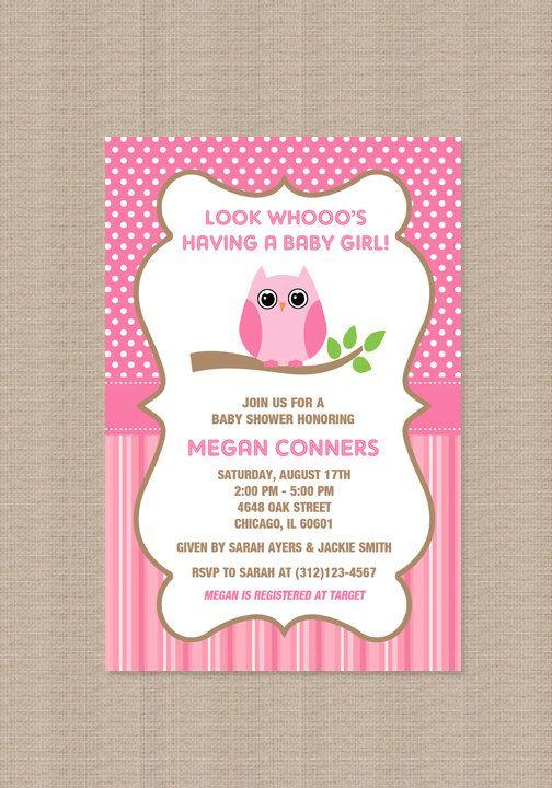 134 best owl theme baby shower images on pinterest owl baby girl owl baby shower invitation in pink via etsy solutioingenieria Choice Image