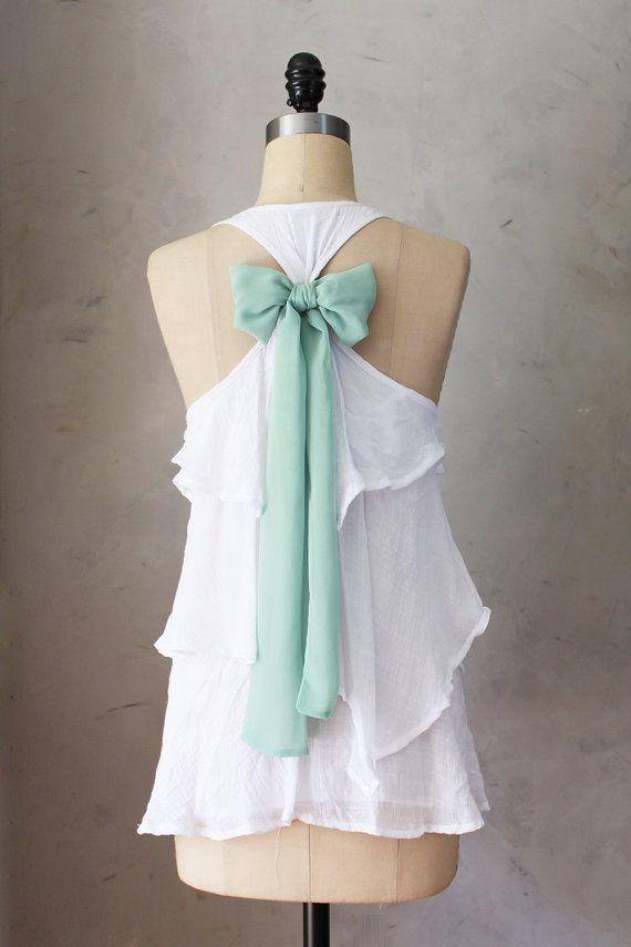 SAGE AURA - Romantic white flowy tier blouse // pastel sage green // chiffon sash bow // tunic // tank top // racerback