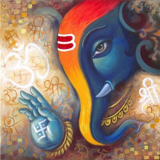 Babu Awate GANESHA 2 Ref No.: 2610  18 X 18 inches ACRYLIC ON CANVAS