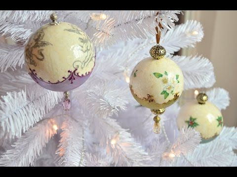 Gömbdísz repesztéssel és viaszpasztával // Christmas ornament with crackle and wax paste - YouTube