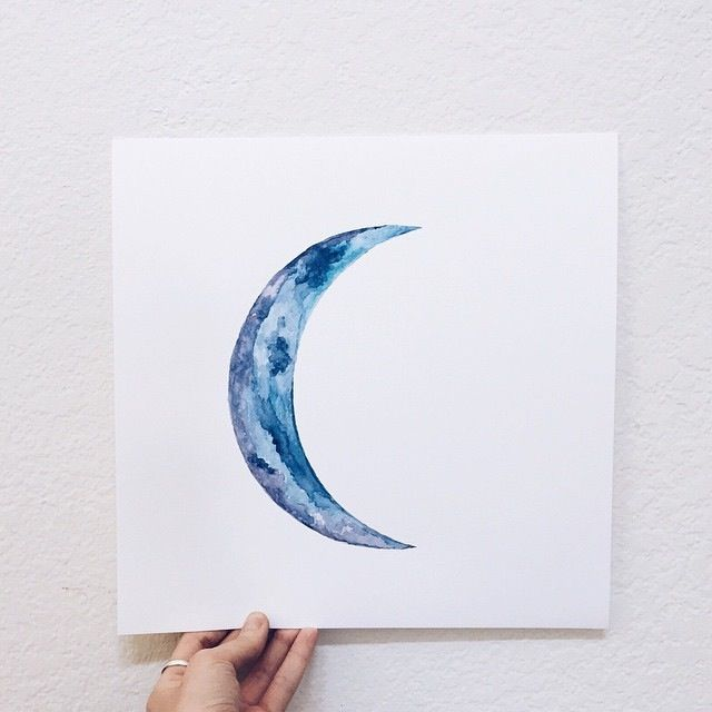 Crescent Moon Watercolor Painting Annie Livia Moon