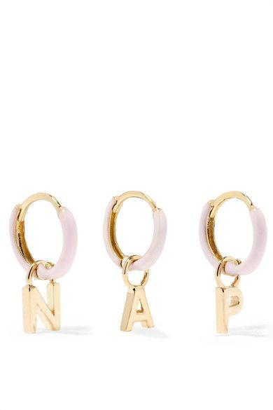 Alison Lou | Huggy Ohrring aus 14 Karat Gold mit Emaille | NET-A-PORTER.COM