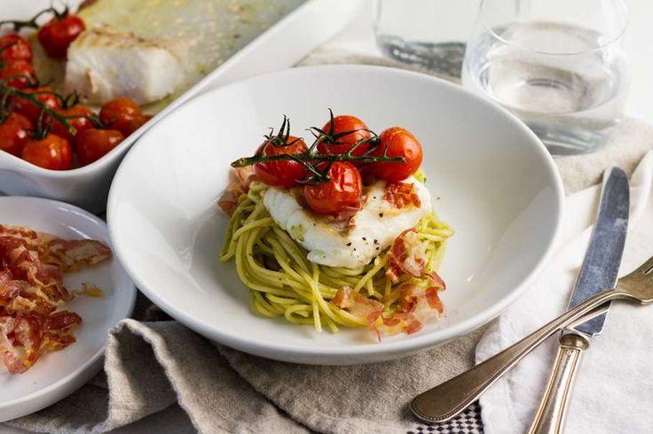 Kabeljauwfilet met pancetta en pasta pesto