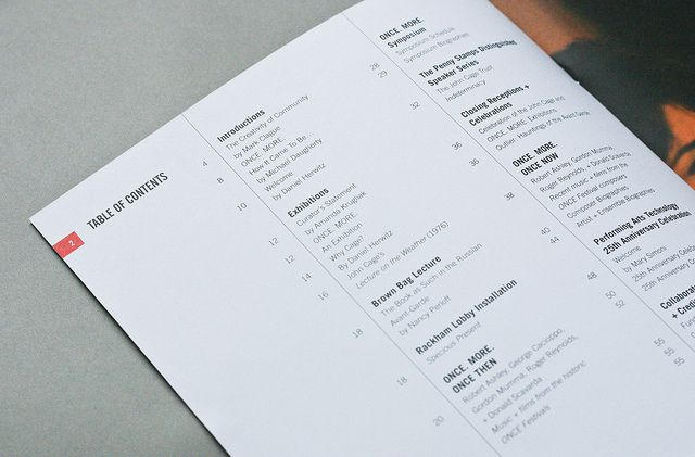 table of contents and page #