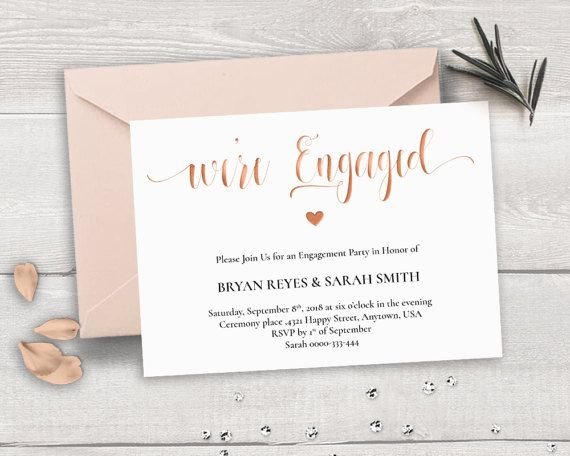 Rose Gold Engagement Invitation Template, Weu0027re Engaged, Calligraphy  Wedding Engagement Party DIY, Printable Wedding Engagement Horizontal  Engagement Party Invitation Template