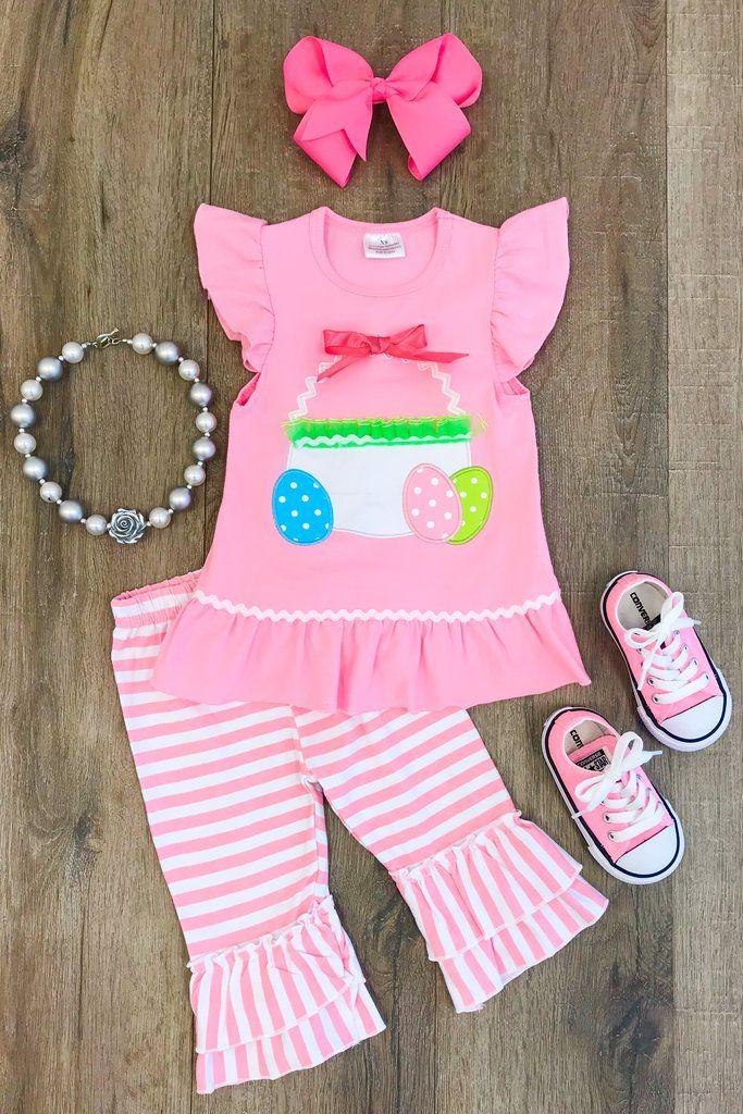 Easter Basket Boutique Set Kids Fashion Designer Baby Clothes Girls Clothing Sets