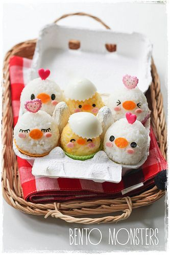 Egg chicken bento #kawaii #bento #food