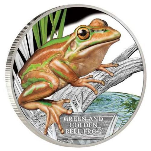 Green and gold – there're no better colours for an Australian frog!  | Endangered and Extinct – Green and Golden Bell Frog 2016 1oz Silver Proof Coin