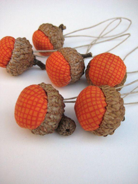 Acorn Decoration / Handmade / Pumkin Orange / In Set Of 6