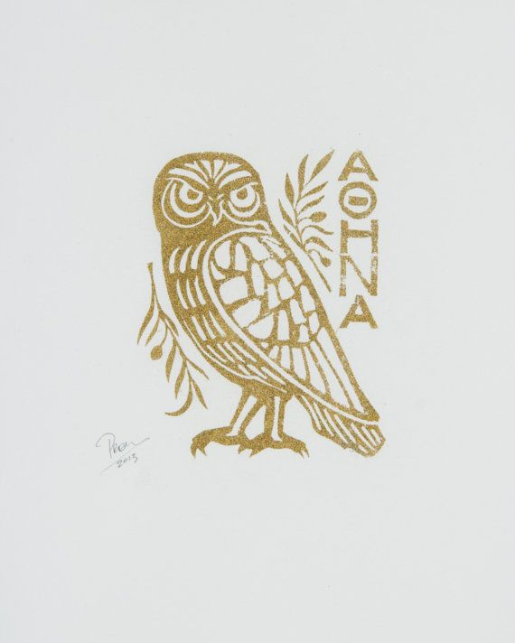 Athena Owl block print with gold powder by No64 on Etsy, $30.00