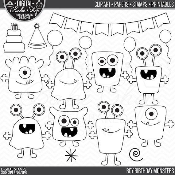 monsters stamps birthday clip art digital aliens clipart - Boy Birthday Monsters…