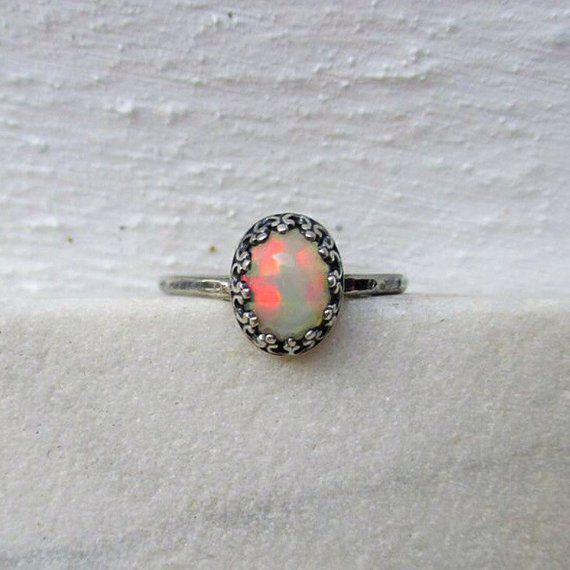 ee5181f7fe5b5 Dainty Ethiopian Opal ring/ hammered oval Welo opal sterling silver ...