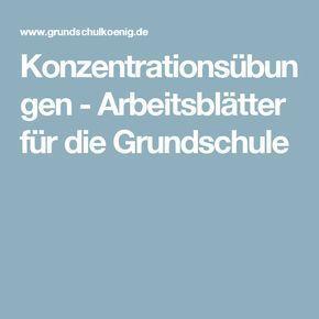 Konzentrationsübungen - Arbeitsblätter für die Grundschule