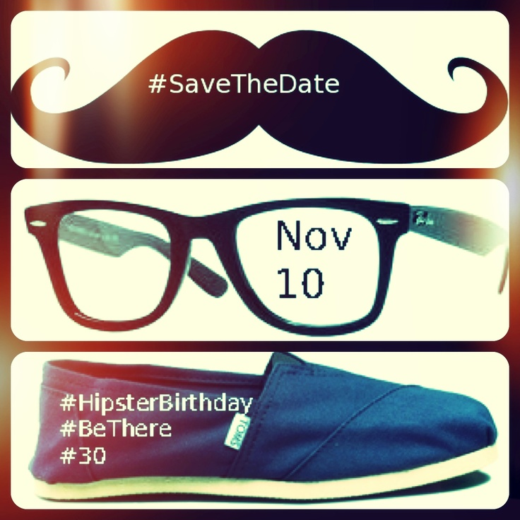 #hipster Save The Date. Hipster birthday