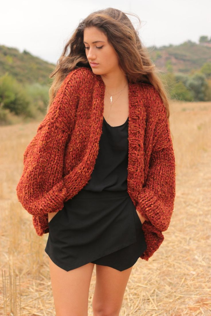 Chunky cardigan in sienna red tweed oversized sweater