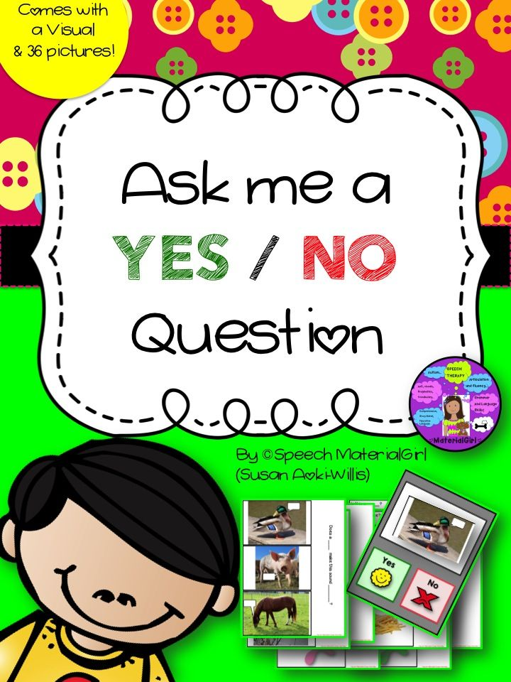 Speech Therapy. Ask me a yes/no question for kiddos working on answering yes/no. visual and 36 pics. #speechtherapy #yesno