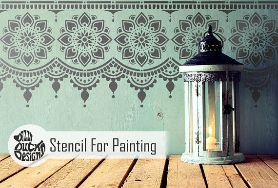 Myah Border Stencil Indian Border Floor Craft Furniture Wall Stencil For Painting Myah01 Stencil Painting On Walls Stencils Wall Stencil Painting