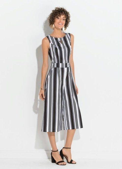 a8574f5ed macacao-pantacourt-com-bolsos-listrado | Vilma | Dresses for work ...