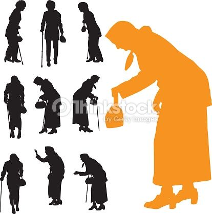 Arte vectorial : Vector silhouette of old people.