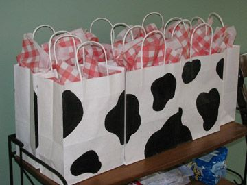 Farm Party ...Buy fabric and cut into squares for gift bags