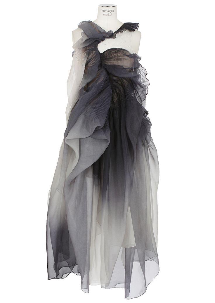 Yiqing Yin grayish blue draped and pleated silk Anémone dress.