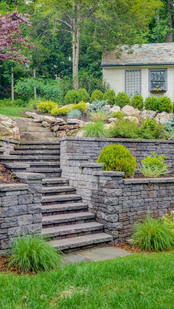Sponzilli backyard stairs and retaining wall