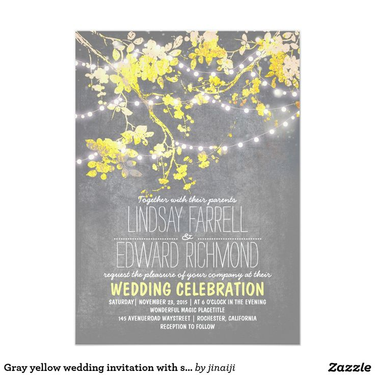 Grey yellow wedding invitation with string lights