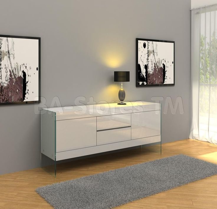 Excellent And Fabulous Looks On Sideboard Buffet Ivory Modern Rectangular Cabinet With 2 Drawer Top Square Side