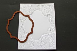 TUTORIAL - Emboss only the outer edges of your cardstock, leaving the inner part smooth to stamp on.
