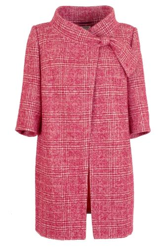 medium pink (fruit punch) plaid pant coat with tie at neck