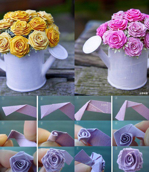 rolled tissue paper roses from - 40 Origami Flowers You Can Do   .... photo tutorial