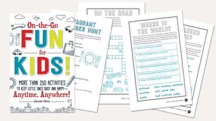 Download and print these vacation games, puzzles and learning worksheet printables. Keep them handy for when you're traveling, waiting on lines or whenever your kids say they're bored.
